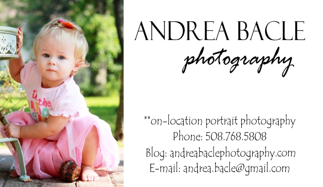 andrea bacle photography website business card
